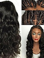cheap -Remy Human Hair Wig Brazilian Hair Wavy 130% Density With Baby Hair Soft With Bleached Knots Unprocessed Natural Hairline Natural Short