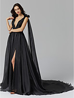 cheap -A-Line Princess Plunging Neckline Court Train Spandex Organza Formal Evening Dress with Flower Tassel Split Front by TS Couture®