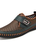 Недорогие -Муж. обувь Тюль Весна Осень Удобная обувь Мокасины и Свитер для Повседневные Серый Темно-русый Темно-зеленый