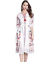 cheap -SHE IN SUN Women's Chinoiserie A Line Dress - Plaid Tassel / Print / Embroidered