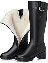 cheap -Women's Shoes Nappa Leather Leather Spring Winter Comfort Boots Chunky Heel for Black