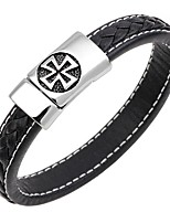 cheap -Men's Bangles / Leather Bracelet - Leather, Stainless Cross Classic, Punk, Fashion Bracelet Dark Blue / Coffee / Brown For Gift / Work