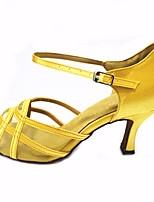 cheap -Women's Latin Shoes Satin Heel Performance / Practice Stiletto Heel Dance Shoes Almond