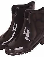 abordables -Femme Chaussures Cuir PVC Printemps Bottes de pluie Bottes Talon Bas pour Noir / Bleu de minuit / Bourgogne