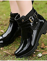 cheap -Women's Shoes PVC Spring & Summer Rain Boots Boots Walking Shoes Low Heel Closed Toe Booties / Ankle Boots Buckle for Outdoor Black /