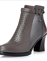 baratos -Mulheres Sapatos Micofibra Sintética PU Primavera Conforto Botas Salto Robusto para Casual Preto Cinzento