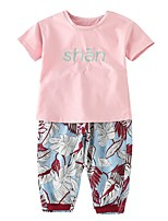 cheap -Kids Girls' Striped Print Short Sleeves Clothing Set