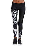 abordables -Femme Collants de Course - Blanc, Noir Des sports Géométrique Collants / Leggings / Bas Tenues de Sport Séchage rapide, Respirabilité