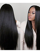 cheap -Remy Human Hair Full Lace Wig Brazilian Hair Straight 130% Density Natural Hairline / With Bleached Knots Women's Long Human Hair Lace Wig