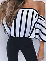 Недорогие -Жен. Открытая спина Блуза Классический Полоски