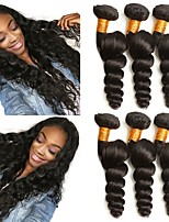 cheap -Brazilian Hair Wavy Unprocessed Human Hair Natural Color Hair Weaves / Human Hair Extensions 6 Bundles Human Hair Weaves Best Quality / New Arrival Natural Black Human Hair Extensions Women's