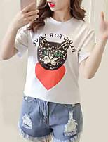cheap -women's t-shirt - animal / letter round neck