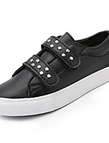 cheap -Women's Shoes PU Leatherette Fall Comfort Sneakers Flat Heel Round Toe for Casual Outdoor White Black