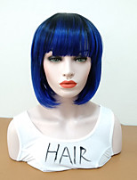 cheap -Synthetic Wig Straight Bob Haircut Heat Resistant With Bangs Women Blue Women's Capless Natural Wigs Mid Length Synthetic Hair Daily