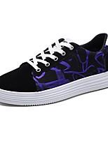 Недорогие -Жен. Обувь Полотно Лето Удобная обувь Кеды На плоской подошве Закрытый мыс Черный / Лиловый / Черно-белый