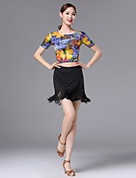 cheap -Latin Dance Outfits Women's Performance Nylon Pattern / Print Bandage Tassel Short Sleeves Dropped Skirts Top