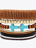 cheap -Women's Layered / Stack Leather Bracelet - Leather Cross Fashion, Multi Layer Bracelet Brown For Ceremony / Street
