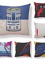 cheap -6 pcs Textile / Cotton / Linen Pillow case, Art Deco / Printing / Graphic Prints Simple / Square Shaped