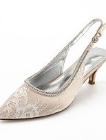 preiswerte -Damen Schuhe Spitze Sommer Komfort / Pumps / Knöchelriemen Hochzeit Schuhe Kitten Heel-Absatz Spitze Zehe Strass / Perlenstickerei /