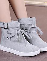 Недорогие -Жен. Обувь Полотно Весна Удобная обувь Кеды На плоской подошве Круглый носок Пряжки Черный / Серый