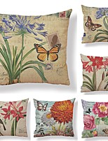cheap -6 pcs Textile / Cotton / Linen Pillow case, Art Deco / Printing / Graphic Prints Square Shaped / European Style