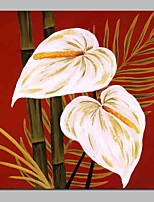 cheap -Oil Painting Hand Painted - Abstract Floral / Botanical Modern Canvas