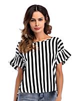 baratos -Mulheres Camiseta - Feriado Listrado