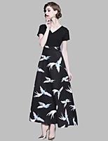cheap -Women's Basic A Line / Sheath Dress - Bird Patchwork / Print Maxi V Neck