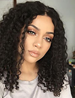 cheap -Remy Human Hair Lace Front Wig Brazilian Hair Curly Bob Haircut / Deep Parting 150% Density With Baby Hair / Middle Part Sew in / Natural
