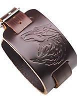 Недорогие -Муж. Кожаные браслеты - Кожа Волк европейский, Мода Браслеты Черный / Коричневый Назначение Официальные / Для улицы