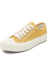 Недорогие -Жен. Обувь Полотно Весна лето Удобная обувь / Вулканизованная обувь Кеды На плоской подошве Круглый носок Оборки сбоку Черный / Желтый /