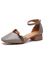 economico -Per donna Scarpe PU (Poliuretano) Primavera estate Comoda Tacchi Heel di blocco Appuntite Beige / Grigio scuro / Tessuto almond