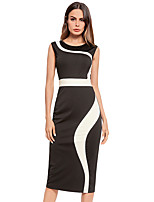 cheap -TS - Dreamy Land Women's Basic Puff Sleeve Bodycon Dress - Solid Colored Black & White, Pleated
