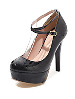 cheap -Women's Shoes Leatherette Fall / Spring & Summer Comfort Heels Stiletto Heel Round Toe Buckle Black / Red / Almond / Party & Evening