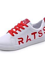 Недорогие -Жен. Обувь Полиуретан Весна Удобная обувь Кеды На плоской подошве Круглый носок Черный / Красный / Синий