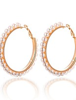 cheap -Women's Hoop Earrings - Imitation Pearl Sweet, Oversized Gold For Party / Daily