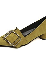 cheap -Women's Shoes Flocking / Microfiber Spring & Summer Comfort Heels Block Heel Pointed Toe Black / Yellow / Brown