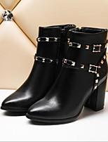 baratos -Mulheres Sapatos Couro Ecológico Outono & inverno Conforto Botas Salto Robusto Branco / Preto