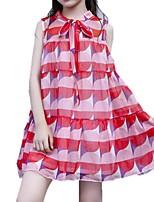 baratos -Infantil Para Meninas Quadriculada Sem Manga Vestido