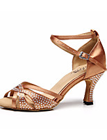 cheap -Women's Latin Shoes Silk Heel Slim High Heel Dance Shoes Gold / Black / Performance / Leather / Practice