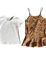 cheap -Kids Girls' Floral Short Sleeve Clothing Set