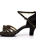 Недорогие -Жен. Обувь для латины Сатин Сандалии / На каблуках Планка Каблуки на заказ Персонализируемая Танцевальная обувь Черный и золотой