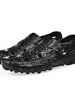 Недорогие -Муж. обувь Кожа Лето Мокасины Мокасины и Свитер Черный Темно-красный