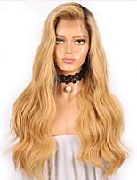 Недорогие -Remy / Натуральные волосы Лента спереди Парик Бразильские волосы / Естественные кудри Волнистый 130% плотность Длинные Жен. Парики из