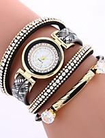 economico -Per donna Orologio braccialetto Cinese imitazione diamante / Orologio casual PU Banda Stile Boho / Di tendenza Nero / Rosso / Marrone