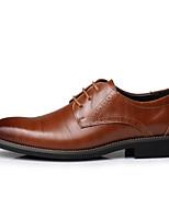 Недорогие -Муж. обувь Кожа Осень Удобная обувь Туфли на шнуровке Черный / Коричневый / Синий