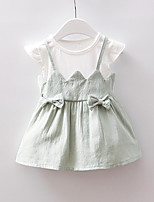 cheap -Kids Girls' Solid Colored Short Sleeves Dress