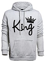 cheap -Men's Street chic / Punk & Gothic Hoodie - Solid Colored / 3D, Beaded / Print