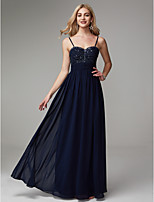 cheap -A-Line Spaghetti Strap Floor Length Chiffon Prom / Formal Evening Dress with Beading / Pleats by TS Couture®