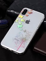 billiga -fodral Till Apple iPhone X / iPhone 8 Plätering / Mönster Skal Fjäril / Maskros Mjukt TPU för iPhone X / iPhone 8 Plus / iPhone 8